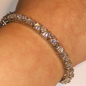 Jewelry - 925 Sterling Silver Trillion CZ Tennis Bracelet